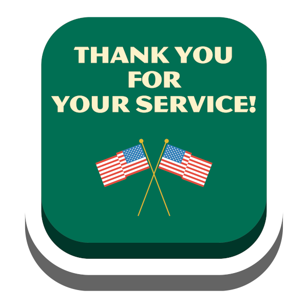 Thank You For Your Service Button